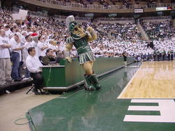 Sparty poses against Purdue